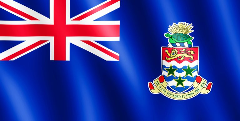 Flag of Cayman Islands waving in the wind