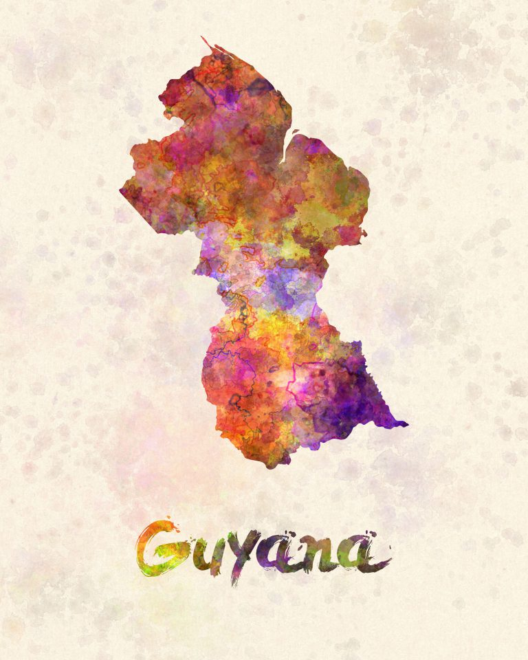 Guyana in watercolor