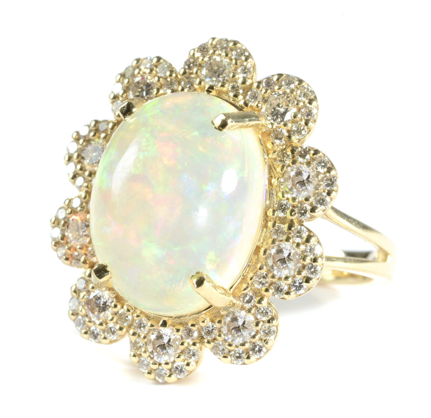 """opal, diamond and yellow gold ring"""