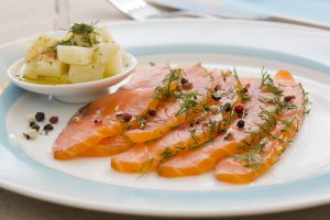 Gravlax - raw fish marinated herbs spices white wine