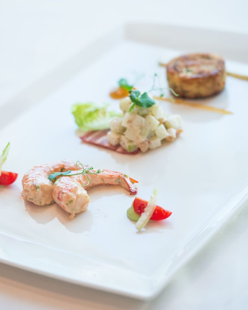Prawn cocktail,Waldorf Salad with smoked duck, Crab Cake