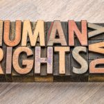 Human rights day - word abstract in wood type
