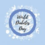 World Diabetes Day. Blue circle and floral background