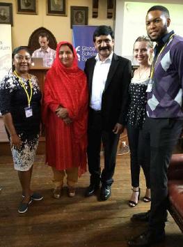 Meeting the parents of Malala Yousafzai (Nobel Prize laureate); Ziauddin Yousafzai and Toor Pekai Yousafzai at the Global Scholars Symposium in Cambridge