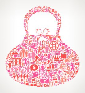 Purse Women's Rights and Girl Power Icon Pattern. The outlines of the main shape are filled with various women's rights and girl power icons. The icons vary in size and in the shade of the pink color. They form a seamless pattern and work in unison to complete this composition. The individual icons include classic girl power imagery of women in various aspects of life and promote social equality and achievement.