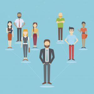 Set of business people, collection of diverse characters connected in network in flat cartoon style, vector illustration