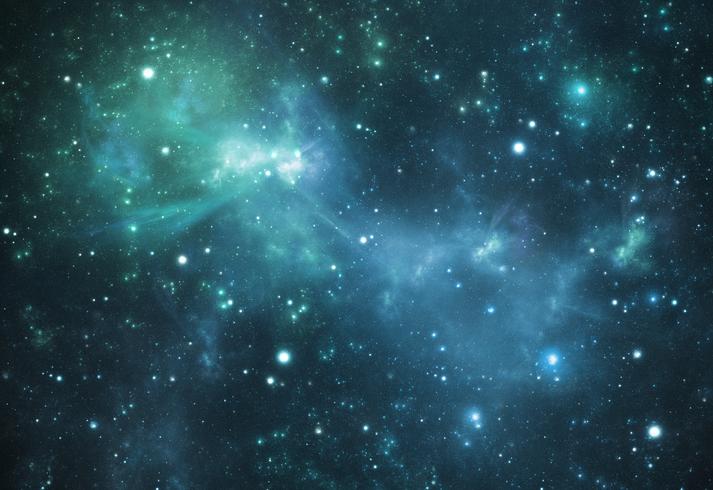 Mysterious beautiful blue space nebula