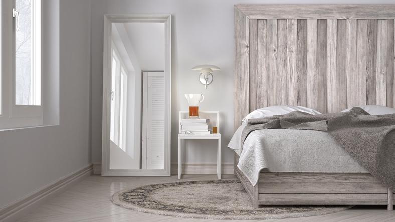 DIY bedroom, bed with wooden headboard, scandinavian white eco c
