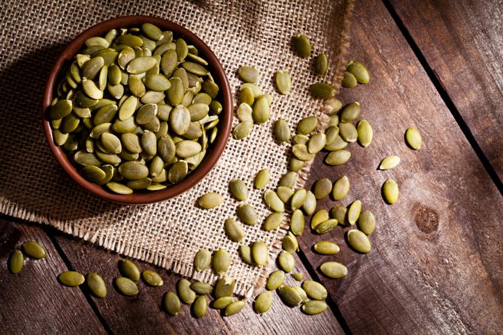 Organic pumpkin seeds still life