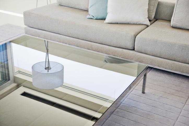 Modern living room, sofa and coffee table