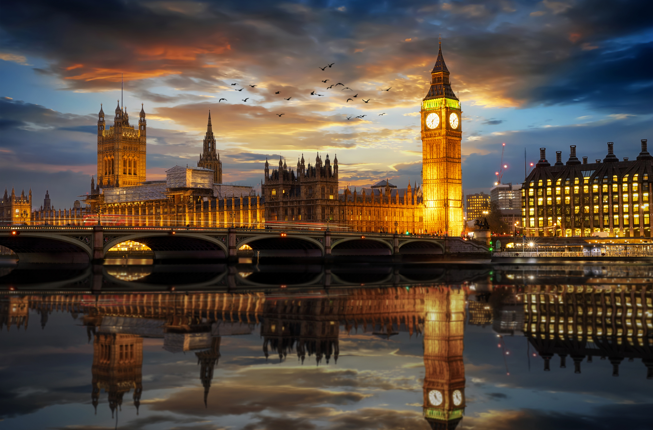 Westminster and Big Ben at sunset.