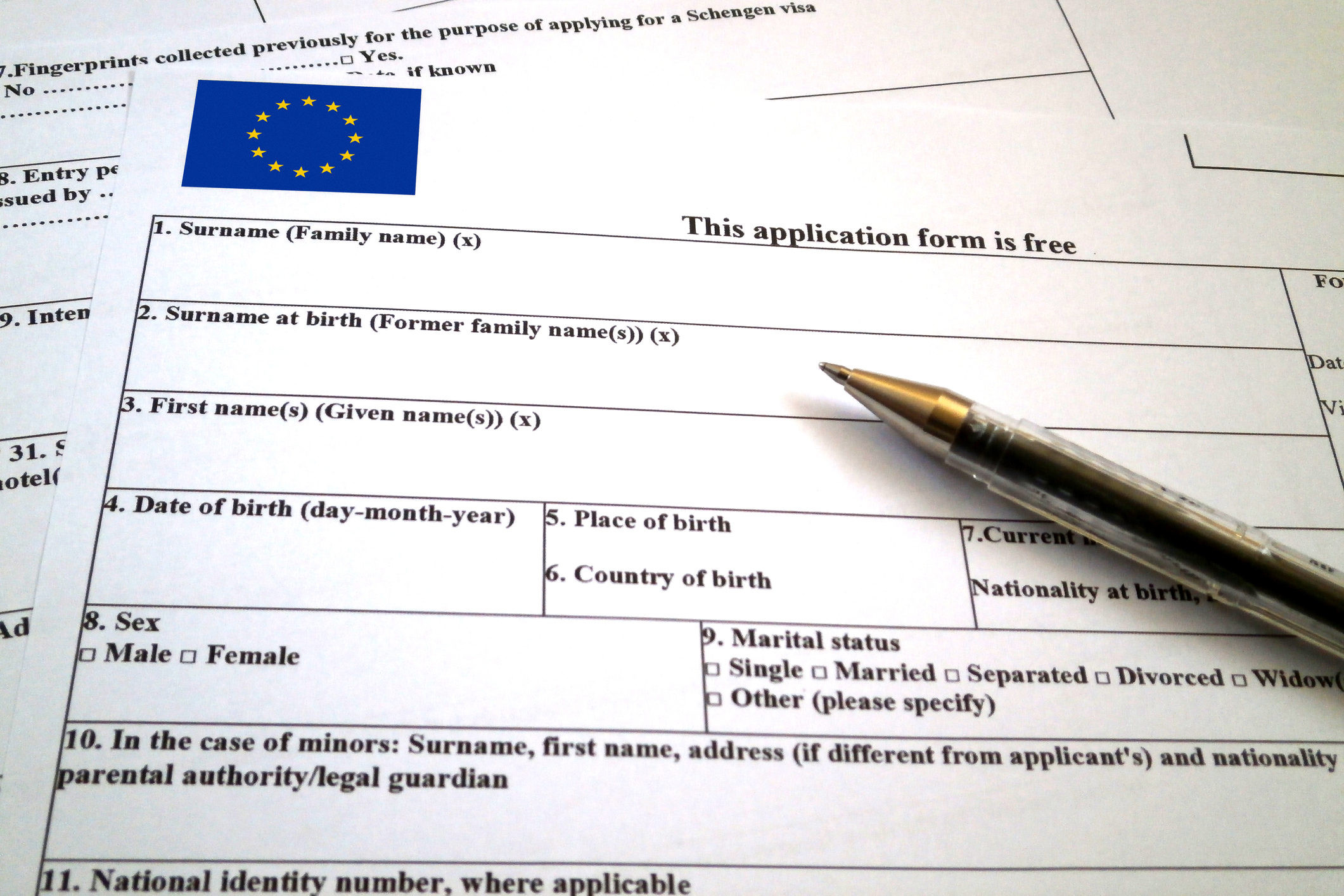 Close up of Schengen visa application form