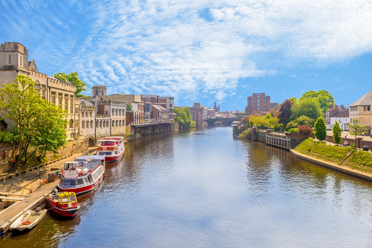 York's Riverside. York is one of 5 top cities for a family-friendly UK city break.