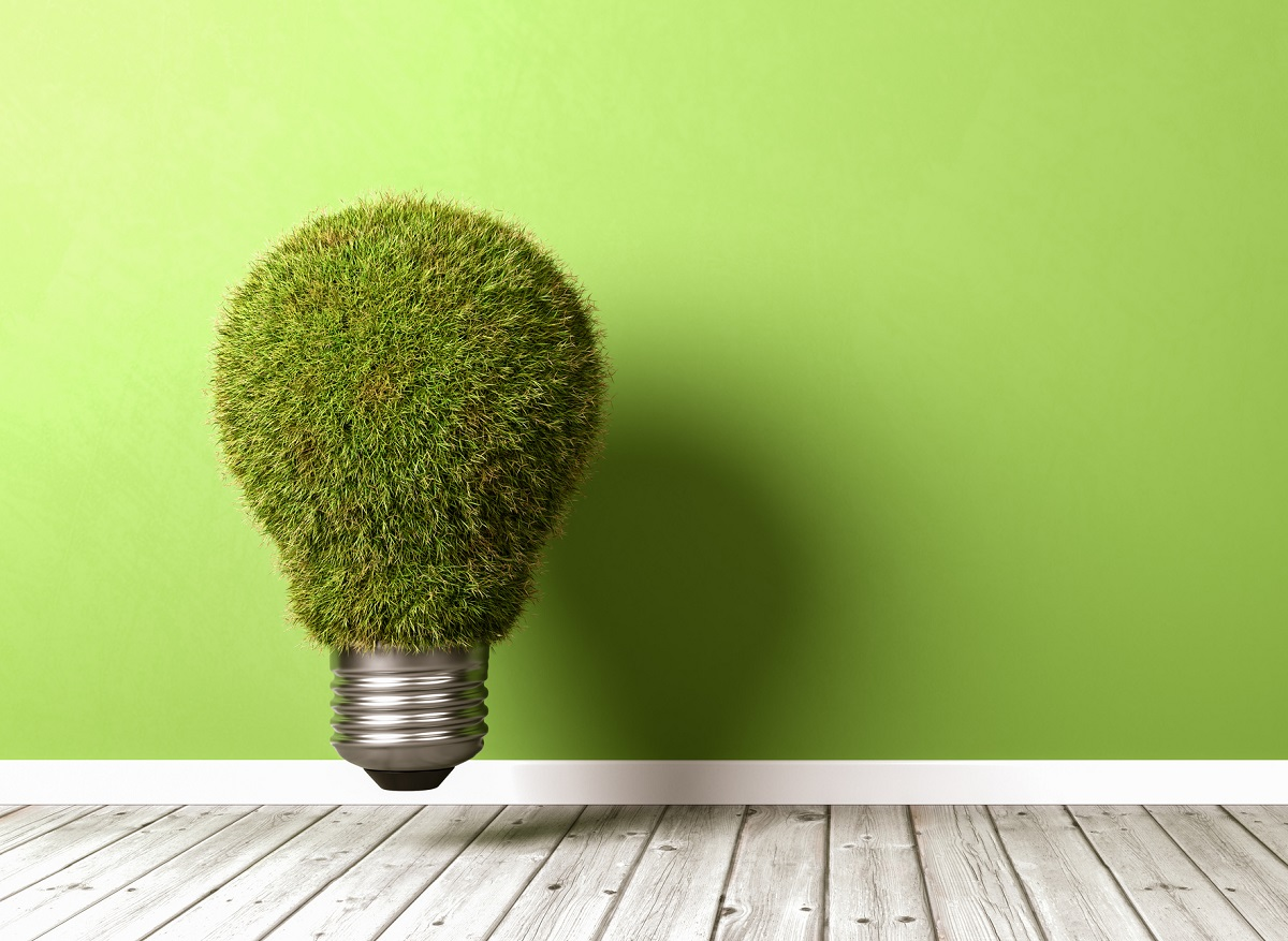 Green light bulb made of grass representing concept of energy efficiency.