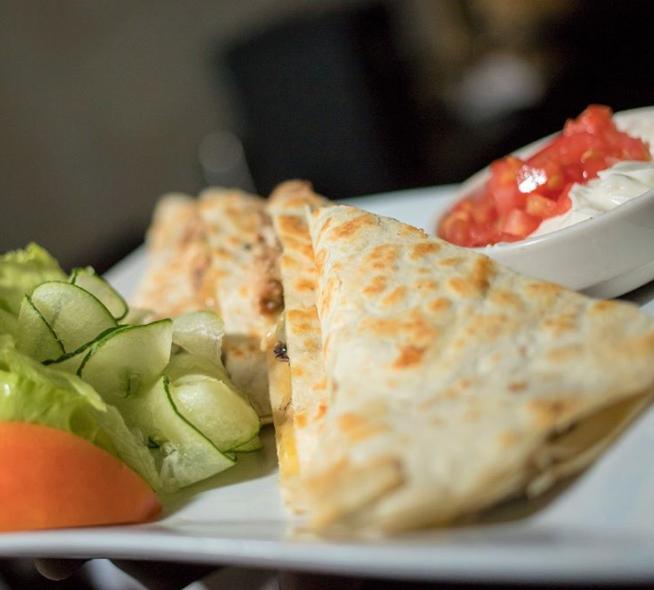 Quesadillas at Regency Bar and Lounge at Terra Nova All-Suites Hotel in Kingston, Jamaica.