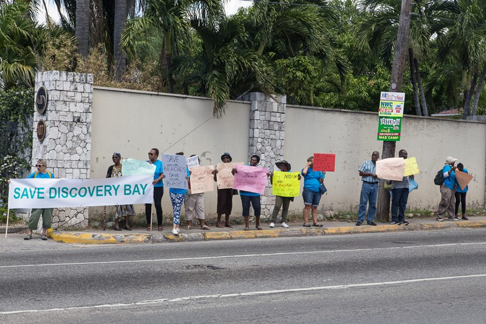 Street demonstration against Dolphin Cove in Discovery Bay.