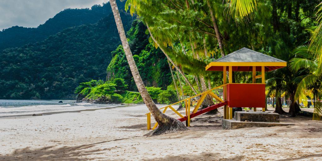 Maracas beach trinidad and tobago lifeguard cabin empty beach