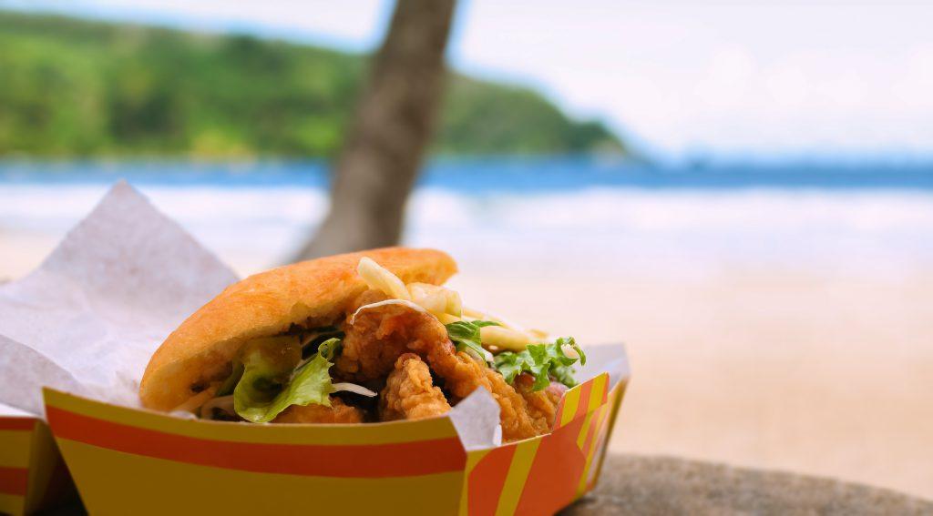 Fried shark and bake fast food by beach Maracas Bay