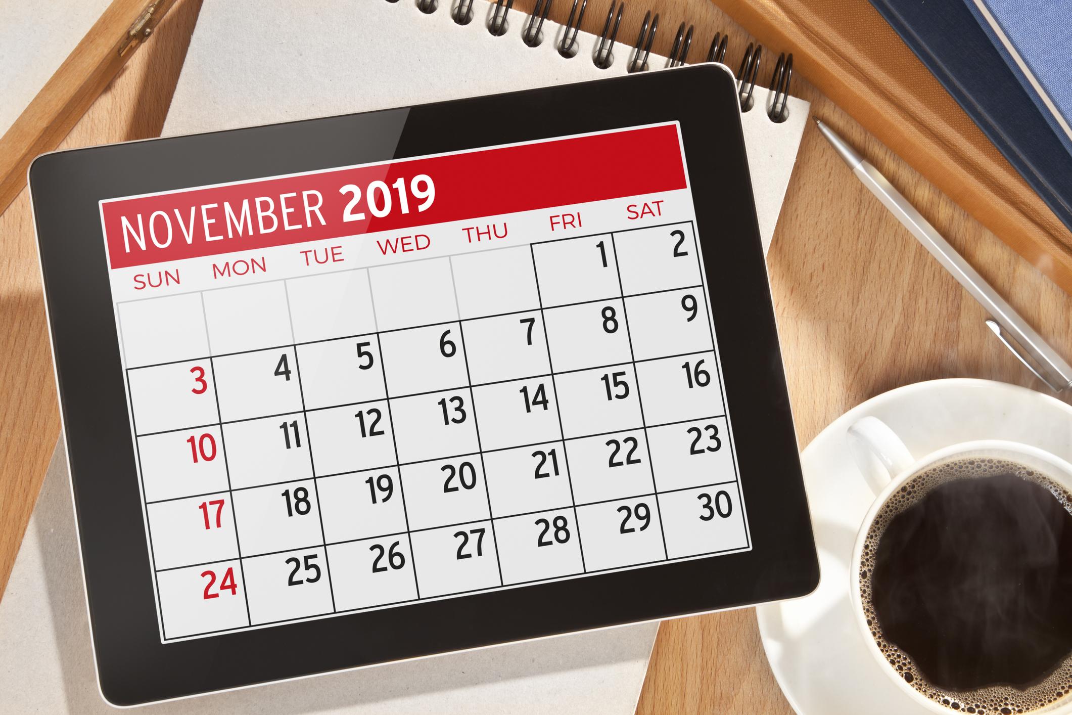 November 2019 Calendar on digital tablet display