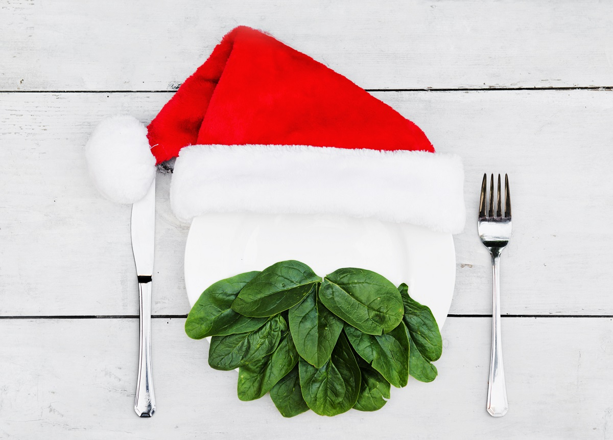 Santa's beard made out of spinach on a plate