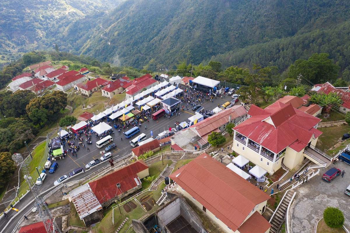 Aerial view of tents at the Jamaica Blue Mountain Coffee Festival 2019 in Newcastle, St Andrew, Jamaica.